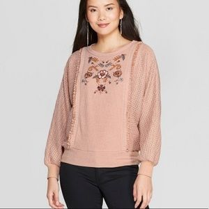 Knox Rose embroidered Henley sleeve sweater
